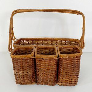 Vintage Wicker Condiment/Cutlery Picnic Basket